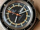 Vintage Aquadive Day-Date Divers Watch w/Exotic Dial,Patina,All SS Monnin Case