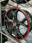 Four 17x75 Gloss Black Red Accent Type R Style Wheels Fits Honda Accord Civic
