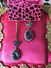 Betsey Johnson Purple Glass Carved Rose Flower Crystal AB Bow Mismatch Earrings