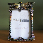 NWT VTG DRAGONFLY PICTURE PHOTO FRAME AUSTRIAN CRYSTAL FLORAL  ENAMEL