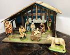 Large Wooden Stable NATIVITY SET Christmas Barn Vintage 1950s 1960s Chalkware