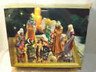 13pc Holiday by Kirklands DP 053027 Nativity 7 Set HNDPNTED Glaze 14K W Mirror
