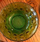 Vintage Glass Green Vegetable Serving Bowl  w Thumbprint and Button Pattern 8.5