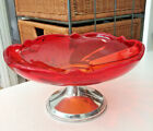 Swirl Glass Empire Pewter Weighted 870 Red Silver Candy Dish Compote Vintage 50s