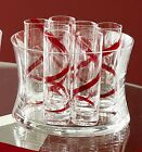 6 TALL SHOT GLASSES  ICE BUCKET RED SPIRAL GLASS NEW