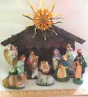 VTG PAPER MACHE COMPOSITION NATIVITY SET W CRECHE HOLY FAMILY ANGELS WISEMEN