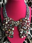 Betsey Johnson Vintage Fairyland HUGE Rainbow Crystal Flower Heart Bow Necklace