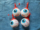 4 Halloween Spooky Monster Eyeball Cups with Straws and Lid