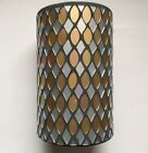 YANKEE CANDLE SILVER AND GOLD MOSAIC GLASS JAR CANDLE HOLDER HTF ITEM