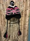 PAUL FRANK BLACK WHITE PINK UNION JACK KNIT EAR FLAPS TASSELS POM POM HAT YOUTH