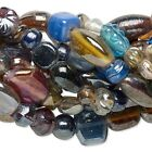 India Lampwork Luster Glass Beads Mixed Color Size Shape 5 25mm One 16 Strand