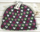 New Aeropostale Womens Beanie One Size Heart Pattern Gray Pink NWT A5003