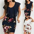 Womens Sleeveless Floral Printed Dress Ruffles Bodycon Holiday Party Short Dress