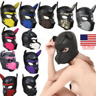 US Padded Latex Rubber Role Play Dog Mask Puppy Cosplay Full Head+Ears 10 Colors