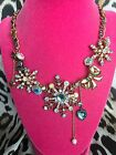 Betsey Johnson Snow Angel Winter Snowflake Crystal Pearl Wing Bow Heart Necklace