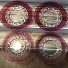 Set 4 Indiana Glass Kings Crown Thumbprint Red Ruby Cranberry 8.25