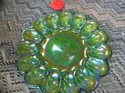 Vintage Indiana glass hobnail  Green deviled egg tray dish 11