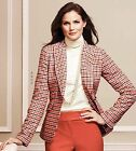 NEW 189 TALBOTS OrangeBrown Check Shetland Wool Riding Jacket Sz 14P14 Petite