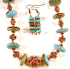 Turquoise  Bali style copper bead necklace  earring set 18 to 22 inches long