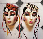 TWO Clay Art Ceramic Masks Matching Art Deco Decorative Collectible Wall Art