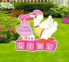 Custom Its a Girl Lawn Stork Sign Announcement Outdoor Baby Birth Yard Decor