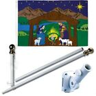 Nativity Scene Blue 3 x 5 FT Flag + 6 Ft Spinning Tangle Free Pole + Bracket