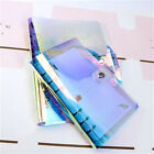 PVC Diary Book Laser Binder Notebook Cover Loose Leaf Ring Planner Clips