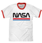 MENS NASA LOGO RINGER T SHIRT WHITE WITH RED CLASSIC RETRO TEE TOP NEW