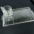 Orchard Party Set Hazel Atlas 4 Rectangle Bubble Edge Glass Trays and Cups Snack