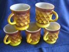 5 vintage anchor hocking fire king glass yellow brown diamond pattern mugs cups