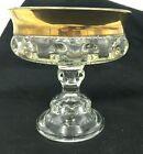 Vintage Indiana Glass King's Crown Compote Thumbprint Dish Bowl Gold Trim