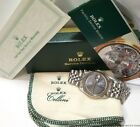 Rolex Mens Steel Datejust 1603 Vintage Watch Gray Dial Box Papers Funky Cool