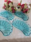 Vintage Hazel Atlas Capri Turquoise Snack Set-Seashell shape set 4