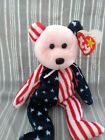 Retired Spangle Beanie Baby Bear ~ Rare Pink Face with ERRORS ~ DOB 6/14/1999 TY