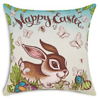 Smiry Happy Easter Throw Pillow Covers Rabbit and Colored Eggs Butterflies Cover