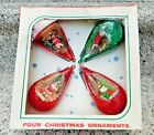 Vintage Jewelbrite Box of 4 Diorama Christmas Ornaments Santa  Nativity Decor