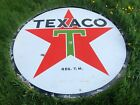 Vintage ORIGINAL 1937 TEXACO Double Sided PORCELAIN 6' Sign Gas Oil Old Station