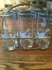ANCHOR HOCKING Farm Country Goose Highball Tumblers Glass Tall Blue White 1987