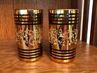 2 Vintage Mid Century Gold Embossed Juice/Tumbler Bar Glass Glasses 4-3/8