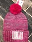 Breast Cancer Awareness Knitted Hat Pom Beanie Support The Cure Love Pink NEW