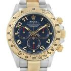 Rolex Daytona Steel 18K Yellow Gold Blue Dial Mens Watch 116523