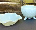 Hobnail Milk Glass Candy Dish Bowl Ruffle Edge Scallop Top Rim White Vintage Set