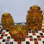 Lot of 3 VTG Glass LE SMITH Moon and Stars Amber Yellow Cannister Jar Candy Bowl