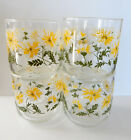 Vintage Libbey MCM Raised Daisy Juice Glass Rocks Glasses Set 9 1/2oz 201a