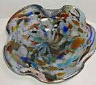 Vintage Murano Cobalt Blue Art Glass Dish Multi Color Swirl Abstract Candy Dish