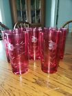 VINTAGE RUBY RED ETCHED GLASSES