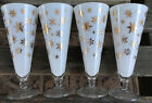 4 Vintage Mid Century Gold Stars White Frosted Pilsners - Excellent!