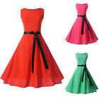Women Sleeveless Vintage Style Rockabilly Evening Party Prom Swing Skater Dress