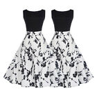 Women Vintage Style Hepburn Sleeveless Dancing Dress Floral Cocktail Prom Party
