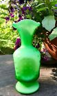 FENTON ART GLASS GREEN OVERLAY SATIN HONEYCOMB BUBBLE OPTIC 7 1 2 VASE